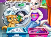 Angela si Ginger spala haine