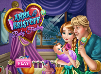 Kristoff si Anna ingrijesc copilul