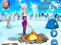 Elsa si Olaf fac focul si gatesc