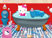 Curatenie in baie Hello Kitty