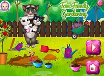 Familia Talking Tom planteaza flori